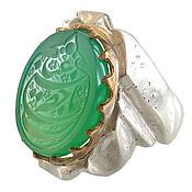 انگشتر نقره عقیق سبز درشت حکاکی یا حضرت عباس مردانه