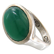 انگشتر عقیق سبز درشت رکاب صفوی مردانه
