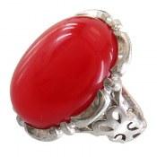 انگشتر نقره عقیق قرمز درشت خوش رنگ مردانه