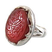 انگشتر نقره عقیق درشت حکاکی افوض امری الی الله مردانه