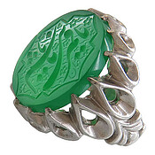 انگشتر نقره عقیق سبز درشت حکاکی یا قمر بنی هاشم مردانه