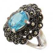 انگشتر نقره توپاز آبی طرح شایسته زنانه