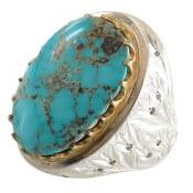 انگشتر نقره فیروزه نیشابوری مرغوب درشت شاهانه رکاب آینه کاری گل لاله مردانه