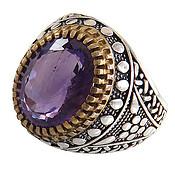 انگشتر نقره آمتیست خوش رنگ رکاب کلاسیک مردانه
