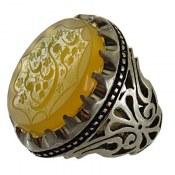 انگشتر نقره عقیق زرد درشت حکاکی یا قمر بنی هاشم مردانه دست ساز