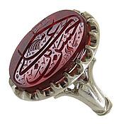 انگشتر نقره عقیق قرمز درشت حکاکی حسن بن علی مردانه