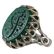 انگشتر نقره عقیق سبز درشت حکاکی یا زینب مردانه