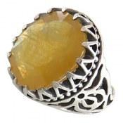 انگشتر نقره یاقوت زرد درشت شاهانه مردانه