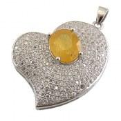 مدال نقره یاقوت زرد طرح قلب