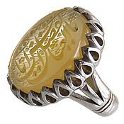 انگشتر نقره عقیق زرد درشت حکاکی یا ابالفضل العباس مردانه