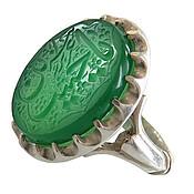 انگشتر نقره عقیق سبز درشت حکاکی یا حسین عزیز زهرا مردانه