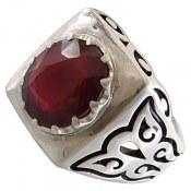 انگشتر نقره یاقوت آفریقایی سرخ خوش رنگ طرح پاشا مردانه