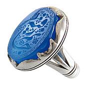 انگشتر عقیق آبی درشت حکاکی جانم رقیه مردانه