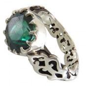 انگشتر نقره توپاز سبز مرغوب سلطنتی مردانه