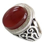 انگشتر نقره عقیق یمن قرمز مرغوب مردانه دست ساز