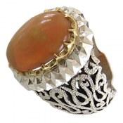 انگشتر نقره اپال درشت سلطنتی رکاب طرح آینه کاری مردانه