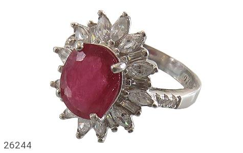 عکس انگشتر نقره یاقوت سرخ درشت شایسته زنانه