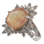 انگشتر نقره یاقوت زرد درشت طرح ستاره زنانه