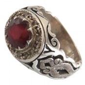 انگشتر نقره یاقوت سرخ مرغوب دور برلیان اصل مردانه