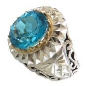 انگشتر نقره توپاز سوئیس آبی درشت سلطنتی مردانه