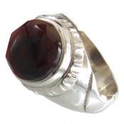انگشتر نقره عقیق مرغوب الماس تراش مردانه