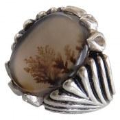 انگشتر نقره عقیق درشت شجر خراسان طبیعی مردانه
