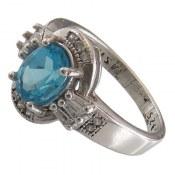انگشتر توپاز آبی طرح پرنسس زنانه