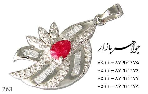 عکس مدال نقره یاقوت سرخ پرنگین زنانه