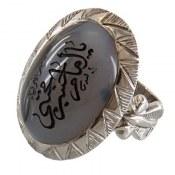 انگشتر نقره عقیق شجر درشت حکاکی یا امام حسن مجتبی مردانه