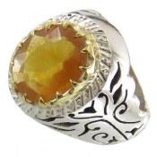 انگشتر یاقوت زرد درشت سلطنتی مردانه