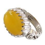 انگشتر نقره عقیق زرد درشت شرف الشمس طرح صفوی مردانه