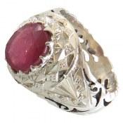 انگشتر نقره یاقوت سرخ باکیفیت مردانه