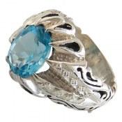 انگشتر نقره توپاز سوئیس شاهانه مرغوب مردانه