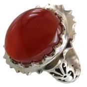 انگشتر نقره عقیق یمن درشت شاهانه قرمز مردانه