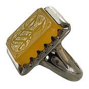 انگشتر نقره عقیق زرد درشت حکاکی یا زهرا مردانه