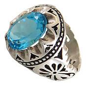 انگشتر نقره توپاز آبی مرغوب شاهانه مردانه