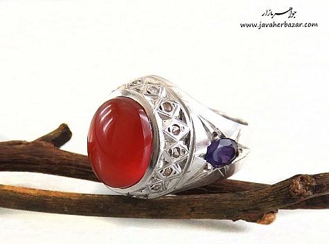 انگشتر نقره آمتیست عقیق یمن قرمز مرغوب دور برلیان اصل مردانه دست ساز