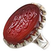 انگشتر نقره عقیق قرمز درشت حکاکی و من یتوکل علی الله فهو حسبه مردانه