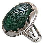 انگشتر نقره عقیق سبز درشت حکاکی یا ضامن آهو مردانه
