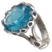 انگشتر توپاز آبی مرغوب مردانه