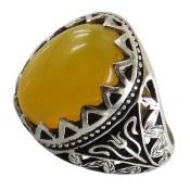 انگشتر نقره عقیق زرد شرف الشمس درشت مردانه