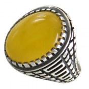 انگشتر نقره عقیق زرد درشت شرف الشمس رکاب طرح ورساچه مردانه