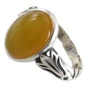 انگشتر نقره عقیق زرد اسپرت مردانه