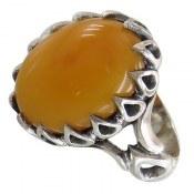 انگشتر نقره عقیق زرد شرف الشمس دورنگین اشکی مردانه