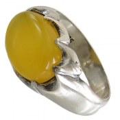 انگشتر نقره عقیق زرد شرف الشمس رکاب طرح صفوی مردانه