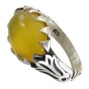 انگشتر عقیق زرد شرف الشمس رکاب طرح صفوی مردانه