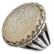 انگشتر نقره عقیق یمن نباتی درشت حکاکی ان الله بالغ امره یا حسین مردانه