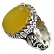 انگشتر نقره عقیق زرد شرف الشمس رکاب یا علی مردانه