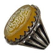 انگشتر نقره عقیق زرد درشت حکاکی یا حسین ابن علی مردانه