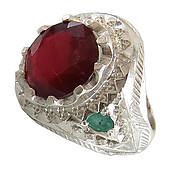 انگشتر نقره زمرد زامبیا یاقوت سرخ مرغوب شاهانه مردانه دست ساز